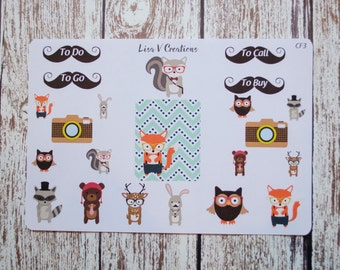 CF3: Hipster Woodland Critters Weekly Kit planner stickers for Erin Condren Life Planner eclp, Inkwell Press IWP, Day Designer, Simplified