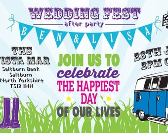 50 Bright Bunting Camper Van Wedfest Wedding Ticket Invitations!
