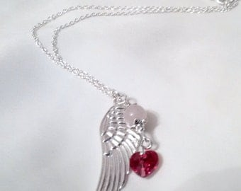 Angel Wing  Necklace - Angel Wing Heart Rose Quartz Necklace - Swarovski Heart Necklace -