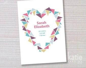 graphic heart - girl name print - childrens wall art - nursery art -