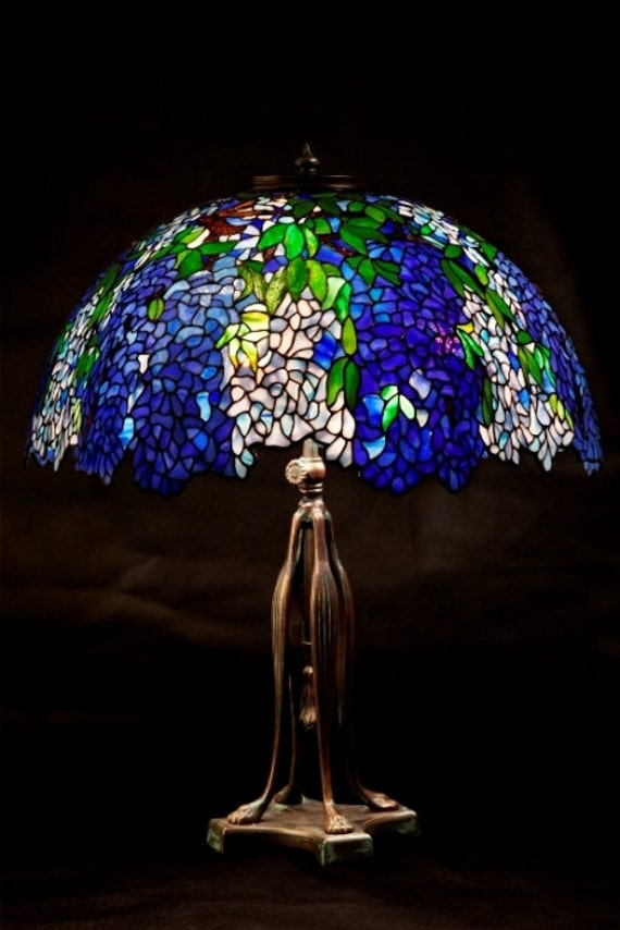 Tiffany Laburnum stained glass floral shade. Tiffany lampshade. . Blue flowers bedside lampshade.