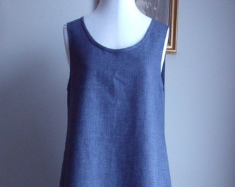 Blue and Grey Linen Shift