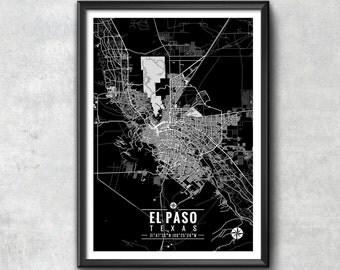 EL PASO Texas Map with Coordinates, El Paso Map, Map Art, Map Print, El Paso Print, El Paso Art, El Paso Gift, El Paso Decor, El Paso Poster