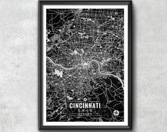 CINCINNATI Ohio Map with Coordinates, Cincinnati Map, Map Art, Map Print, Cincinnati Print, Cincinnati Art, Cincinnati Wall Art, Wall Art