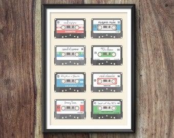 Retro Mixtape Print, Mixtape Poster, Mixtape Art, Mixtape Gift, Mixtape Print, Mixtape Illustration, Vintage, Mixtape Decor, Cassette, Tape