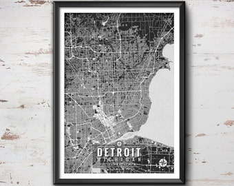Detroit Michigan Map with Coordinates, Detroit Wall Art, Detroit Map, Map Art, Map Print, Detroit Print, Detroit Art, Detroit Gift, Map