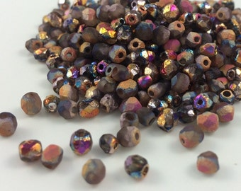 100 pcs, 4mm Faceted Round Fire Polished Beads, Etched Crystal Full Sliperit