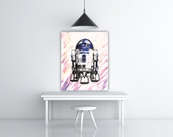 Star Wars R2D2 Print, Charcoal Art Pencil Drawing Art, Star Wars Art Print, R2D2 Poster Illustration, R2D2 Painting Print, Charcoal Drawing