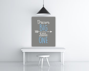 Dream Big Little One Grey Nursery Decor, Blue Grey Wall Art Children Poster, Baby Shower Art Gray Nursery Poster White And Blue Print Art