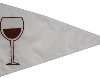 "12""x18"" Wine Glass Pennant: Handsewn Red Wine/ Merlot/ Syrah/ Cabernet Boating Flag- Appliqued in the USA"