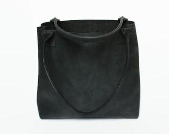 large black distressed leather tote bag, leather tote, leather bag, raw leather tote bag