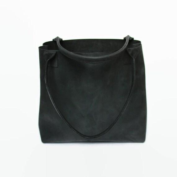 schwarzer leder shopper tote bag leder tasche. Black Bedroom Furniture Sets. Home Design Ideas