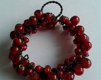 "Unique Red Glass Beaded Ornament, Vintage Mini ""Cranberry"" Look Wreath Ornament"