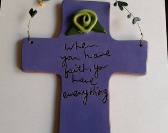 Ceramic Wall Hanging Cross, Department 56 by Sandra Magsamen, Inspirational Hanging Cross
