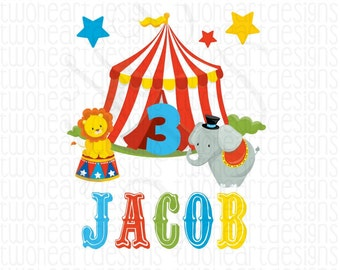 Circus Name Iron On - Emailed File - Personalized