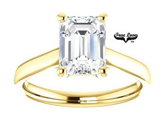 Moissanite Engagement Ring 14kt Yellow Gold #8175
