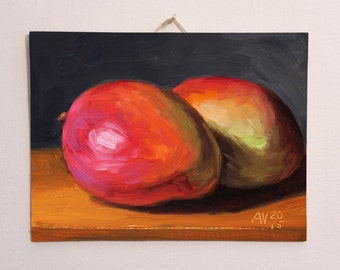 Mangoes Original Oil Painting Still Life by Aleksey Vaynshteyn