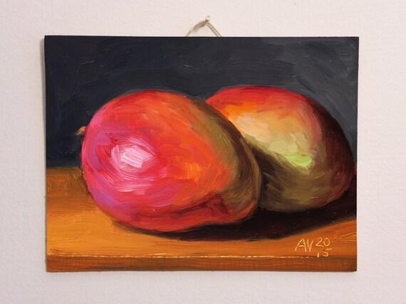 Mangoes Original Oil Painting Still Life by Aleksey Vaynshteyn