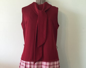 1960s Vintage Maroon & Plaid Drop Waist Dress