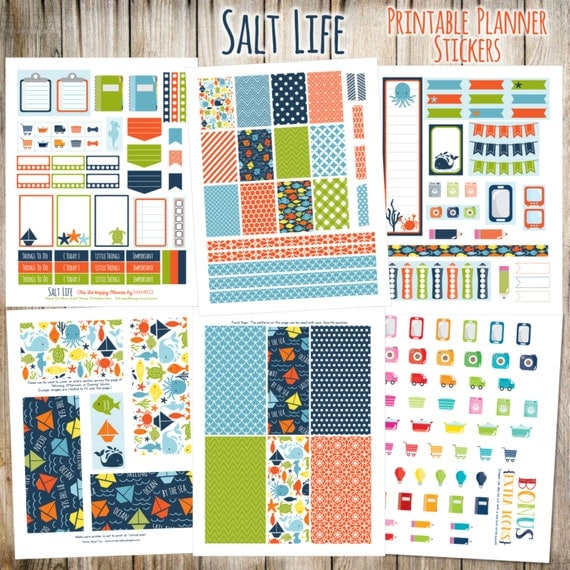 Salt Life Printable Planner Stickers - 6 Full Pages!  (Made to fit The Happy Planner by MAMBI - Create 365)