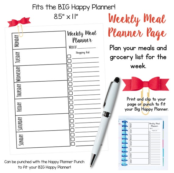 "Printable Weekly Meal Planner Pages - FULL Page 8.5"" x 11"" - Fits the BIG Happy Planner!"