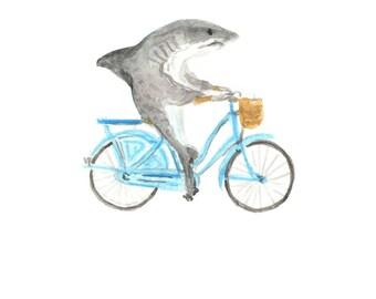 Shark On A Bike Etsy