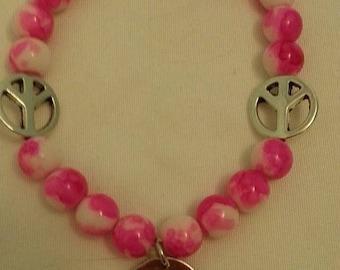 Pink Tye Dye Peace Bracelet with Charm