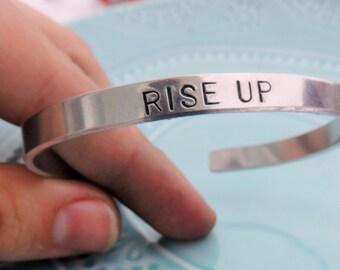 "Hamilton Musical ""Rise Up!"" Lyric Aluminum Cuff Bracelet, Hand Stamped, Hamilfan, Hamilfreak, Hamilton on Broadway Fan Gift"