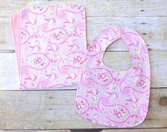 Pink Paisley Bib & Burp Cloth, Pink Paisley Nursery, Paisley Baby Shower, Baby Girl Bib Set, Pink Bib, Boho Baby Shower, Pink Baby Gift