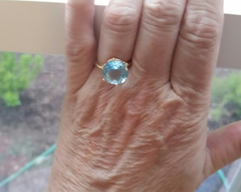 REDUCED Huge Cushion Blue Topaz in 14 kt Yellow Gold Cage Setting, Sky Blue Topaz Ring, Engagement Ring Blue Topaz      size 7 3/4