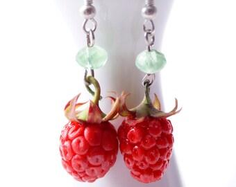 strawberry earrings, drop red berry earrings jewelry, artificial strawberry