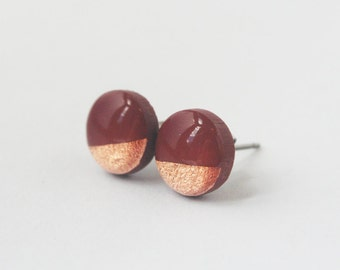 Mahogany Brown Stud Earrings, Two Tone Brown Earrings, Tiny Copper Studs, Minimalist Fall Jewelry, Hypoallergenic Earring Set