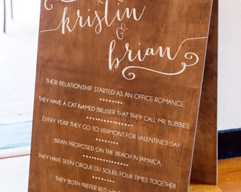 Wedding Signs Fun Facts - Bride and Groom Sign - Wooden Wedding Signs - Wood