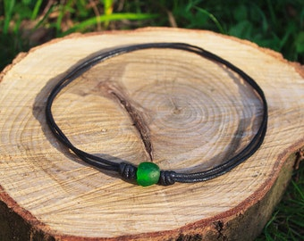 Mens Hemp Necklace / Green Recycled Glass Bead / Eco Friendly / Festival / Surfer / Fairtrade