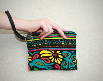 Printed Pouch in Aztec Floral, Small