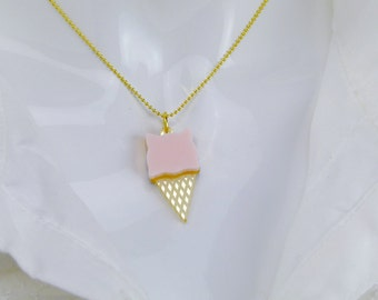 Ice-cream Kitty Necklace (Pink)