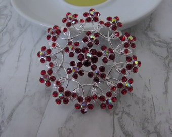 Red Brooch, Red Flower Brooch, Brooch Pin