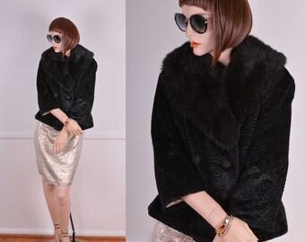 Vintage Faux Persian Lamb Fur Coat With Genuine Fur Collar