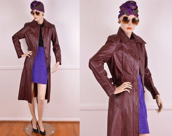 70s Oxblood Leather Trench Coat