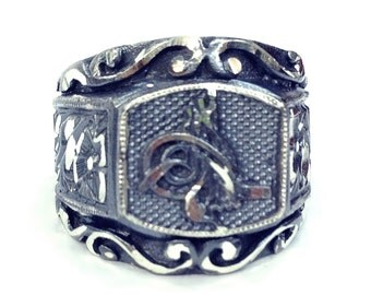 925 Sterling Silver Men Ring,Jewelry,Handmade,Anatolia PencilWork,Ottoman Signet Icon,Sultan's Signet,Adjustable Engraved Men Ring,Boy Gifts