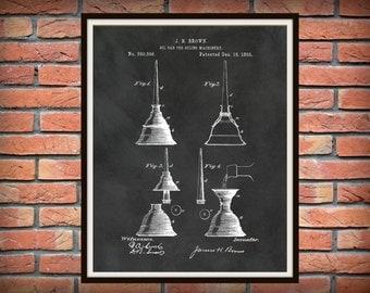 Patent 1883 Oil Can - Art Print - Mechanics Wall Art - Carpenter Wall Art - Gift for Him - Auto Repair Shop Art - Machinist Wall Art