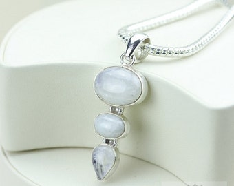 Moostone 925 S0LID Sterling Silver Pendant + 4mm Snake Chain & Free Worldwide Shipping p2952