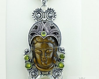 Prasiolite Tiger's Eye Kwan Yin Guanyin BUDDHA Goddess Face Moon Face 925 S0LID Sterling Silver Pendant + 4MM Chain & Free Shipping p3761