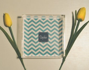 Personalized Acrylic Tray in Chevron Print