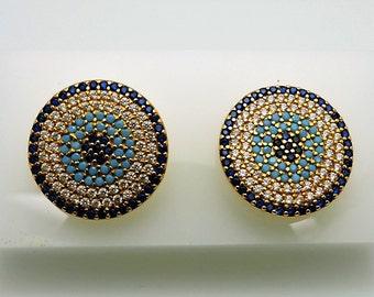 Beautiful Lady's Yellow 21K  sapphire, turquoise, diamond Cluster Earrings