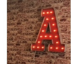 3 FT , 4 FT A - Z Marquee Letter Sign -Custom Font Rustic Industrial Marquee Letter Sign Wall Light