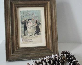 Framed Vintage Holiday Post Card