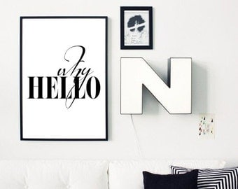 why hello affiche etsy. Black Bedroom Furniture Sets. Home Design Ideas