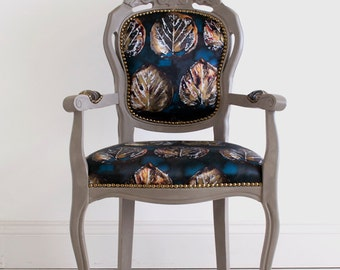Marguerite - Grey Painted Floral Reupholstered French Baroque Antique Carver Chair