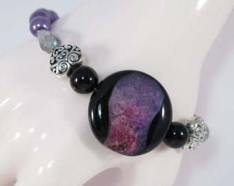 Purple Druzy Agate Bracelet,Purple Pearl Bracelet,Purple Druzy Quartz Bracelet, Stretch Bracelet Heart Bracelet  #1053B